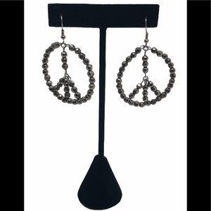 Peace Sign Hoop Earrings